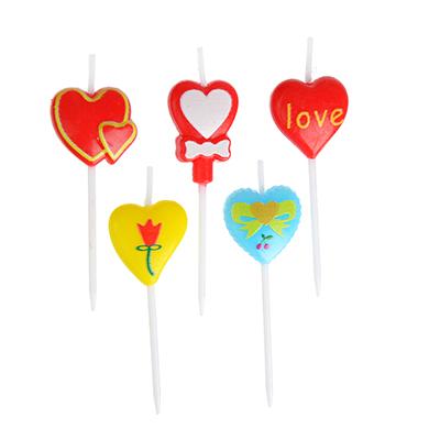 533-009 Набор свечей 5шт фигурных с сердечками для торта, 10х8х2см, парафин