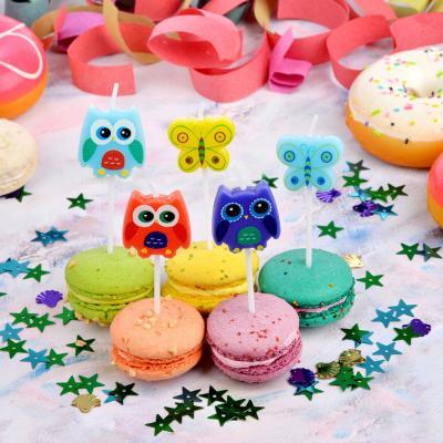 533-010 Набор свечей фигурных с бабочками и совами для торта 5шт, парафин, 10х8х2см, Капитан Весельчак