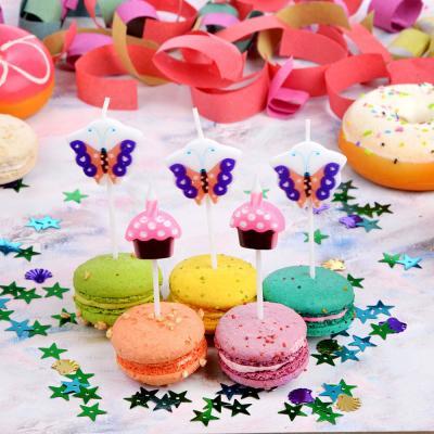 533-011 Набор свечей фигурных с бабочками и пирожными для торта 5шт, парафин, 10х8х2см, Капитан Весельчак