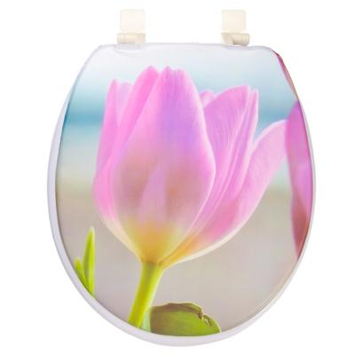 463-725 Сиденье для унитаза ПВХ, 40х36см, с изображением тюльпана