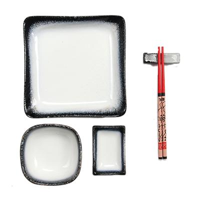 839-037 Набор для суши на 1 персону, 5пр, керамика, черно-белый камень, F026-2