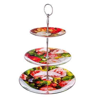 830-321 VETTA Розы Ваза для фруктов стеклянная, трехъярусная, 25,4см+20см+15,2см, S30100806/3