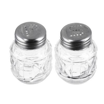"""828-146 Набор для соли и перца на подставке, стекло, металл, h6см, """"Практик"""""""