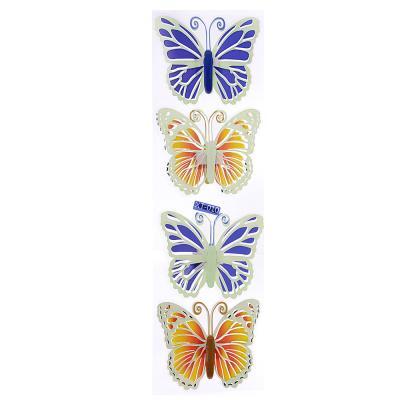503-371 Набор наклеек 4шт, 5D, с бабочками, флуоресцентная, 51х13см, 12 дизайнов, ПВХ, арт.15-00