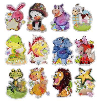 """503-383 Наклейка детская 5D, 15х11см, пластик, бумага, """"Животные"""", 12 дизайнов, арт.12-02"""