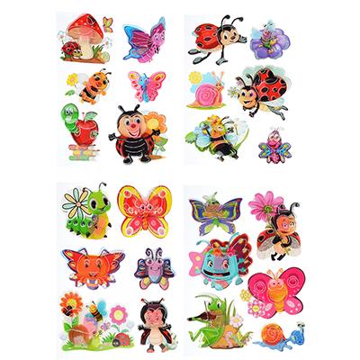 503-385 Наклейка детская 5D, пластик, бумага, 4 дизайна арт.12-04