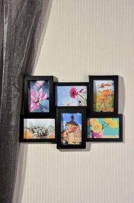 520-352 Фоторамка на 6 фотографий объемная, пластик, 46х32см, 2 цвета, арт.17-03