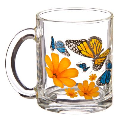 """879-103 ОСЗ Кружка стеклянная, 300мл, """"Бабочки и оранжевые цветы"""", 04с1208"""