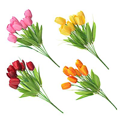 """501-369 Букет искусственный """"Тюльпаны 7шт с веточками"""", полиэстер, 37см, 4 цвета"""