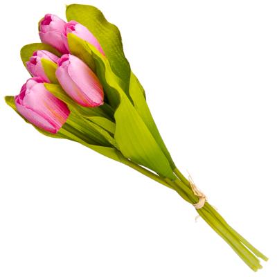 """501-371 Букет искусственный """"Тюльпаны 5шт"""", полиэстер, 35см, 4 цвета"""