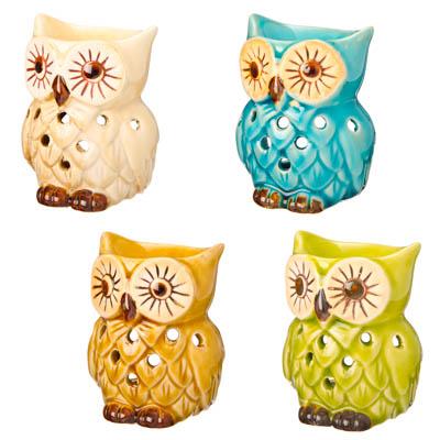 536-227 Аромалампа в виде совы, 8х6,5х6см, керамика, 4 дизайна