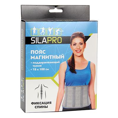 191-029 SILAPRO Пояс магнитный, поддерживающий талию, 18х100см, латекс, полиэстер, металл