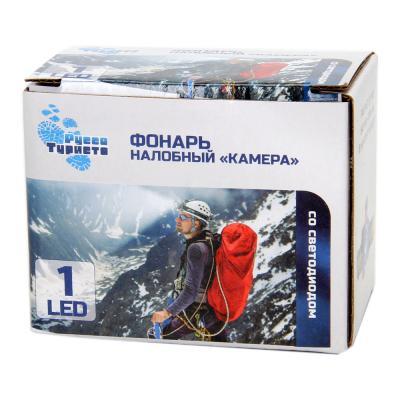 "198-037 Фонарик налобный ""Камера"", 1LED, пластик, синий, 5,5х8,5 см"