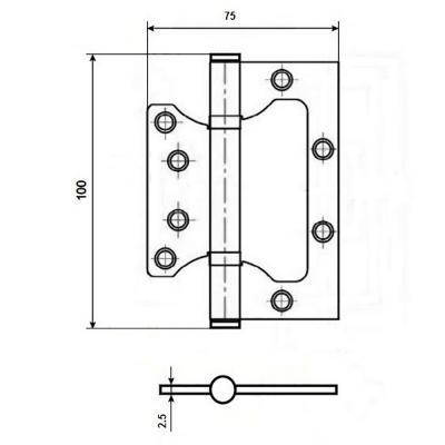 620-013 KORAL Петля накладная (БЕЗ ВРЕЗКИ) 4x3x2,5 cp хром (100x75x2,5)