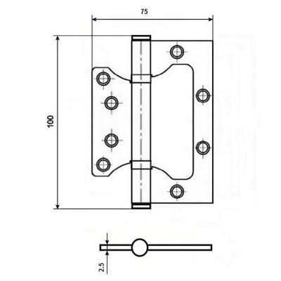 620-016 KORAL Петля накладная (БЕЗ ВРЕЗКИ) 4x3x2,5 ss матовый хром (100x75x2,5)
