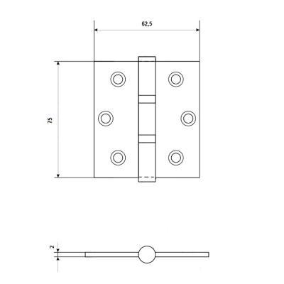 620-017 LARS Петля прям.3х2,5х2 2BB cp 2 подшип. хром (75х62,5х2)