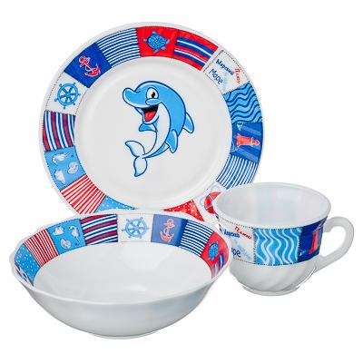"""829-109 VETTA Набор детский 3пр.(тарелка 18см, суповая 16см, чашка 190мл),опал.стекло,""""Дельфин"""", Дизайн GC"""