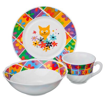 829-113 VETTA Набор детский 3пр (тарелка 18см, суповая 16см, чашка 190мл), опал, Малышка Дейзи, Дизайн GC