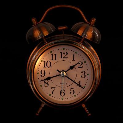 """529-073 Будильник электронный, металл, стекло, 12х8,5х5 см, 1хАА, """"Хром"""""""