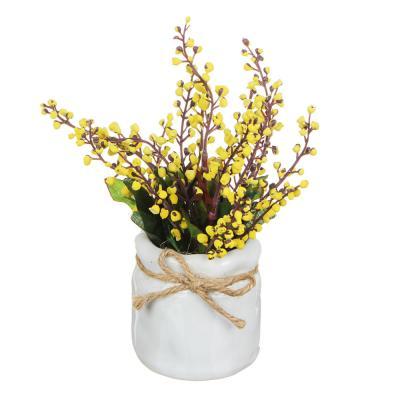 501-385 Цветы в горшке 15,5х8х8см, полиэстер, керамика, 3 цвета, арт.GRSH-2