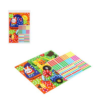 """281-049 Аппликация из самоклеящихся наклеек """"Кружочек"""", 2 картинки, наклейки, бумага, 21х30см, 4 дизайна"""