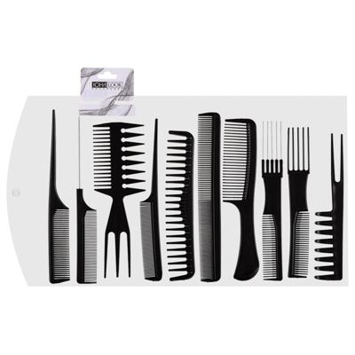 356-414 Набор профессиональных расчесок-гребней ЮниLook, 10 предметов, черный