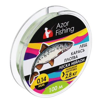 "144-035 AZOR FISHING Леска, нейлон, ""Карась, Плотва"" 100м, 0,14мм, зеленая, разрывная нагрузка 2,8 кг"