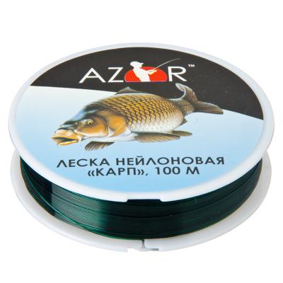 144-037 AZOR Леска, нейлон, «Карп» 100м, 0,5мм, зеленая