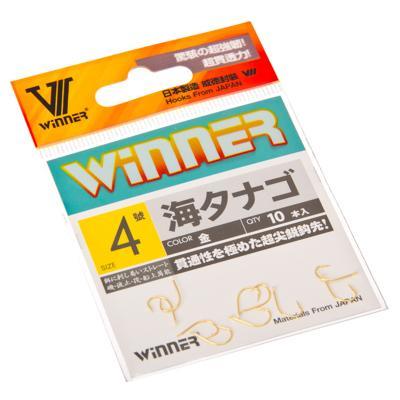 143-010 Набор крючков 10шт WINNER 9120 # 4, японская сталь, цвет золото