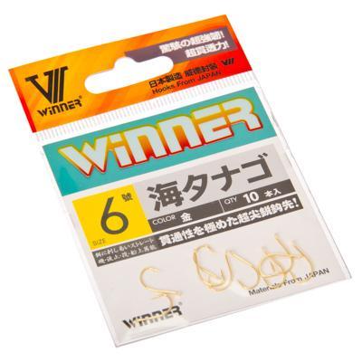 143-011 Набор крючков 10шт WINNER 9120 # 6, японская сталь, цвет золото