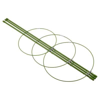 154-053 Опора для растений, 3 кольца, d14,16,18 см, h45 см, металл, 46х20х5, INBLOOM