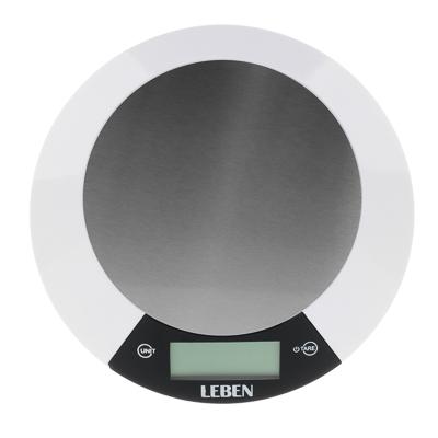 Весы кухонные электронные, металл.платформа, макс.нагрузка до 5кг, питание CR2032, арт.RF5