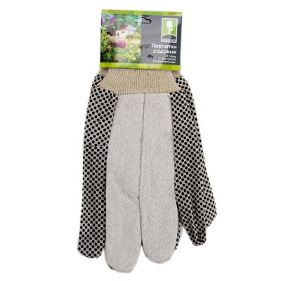 188-033 INBLOOM Перчатки садовые х/б ткань с ПВХ точкой, 10 размер, 23,5см,45гр, 2 цвета 27х14х5