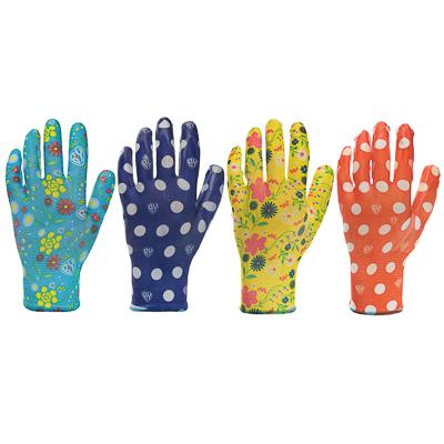 188-037 INBLOOM Перчатки садовые с нитриловым полуобливом, полиэстер, 9 размер, 23см, 31гр, цветные 25х15х5