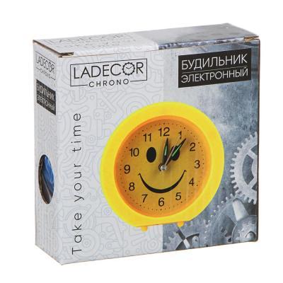 """529-093 Будильник электронный, металл, пластик, 10,5х10,5х3,5 см, 1хАА,  """"Смайлик"""""""