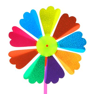 """134-019 Игрушка ветряная вертушка """"Летний цветок"""" ПВХ/пластик, 16,5х30см, 8 дизайнов"""
