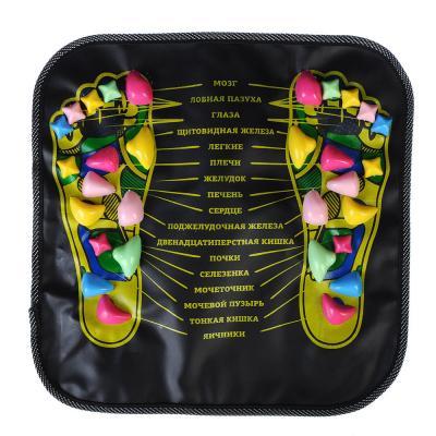191-034 SILAPRO Коврик массажный для ног с указанием акупунктурных точек, 35х35см, пластик, искусств.кожа