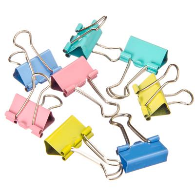 526-456 Зажимы для бумаг, металл, 19 мм, цветные, 40 шт в пластиковой упаковке