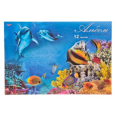 """526-459 Альбом для рисования 12л, А4, """"Два дельфина"""", 2 дизайна, 100г/м2"""
