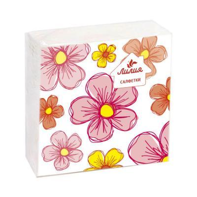 912-006 Салфетки бумажные Лилия с рисунком 1сл 50л, 8925/003/017