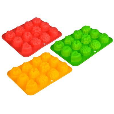 """856-079 Форма для выпечки силиконовая, 12 ячеек, 21х16х3см, """"Кексы ассорти"""", 4 цвета"""