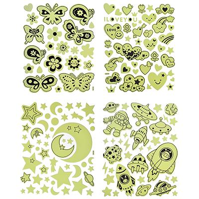 503-454 Наклейка декоративная флуоресцентная, ПВХ, 26,5х21см, 4 дизайна