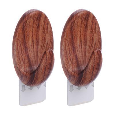 440-299 Крючки самоклеящиеся, 2 шт, дерево, SR, пластик, 1,5кг, 5,5х3,2х2,5см, овальные, арт.1839