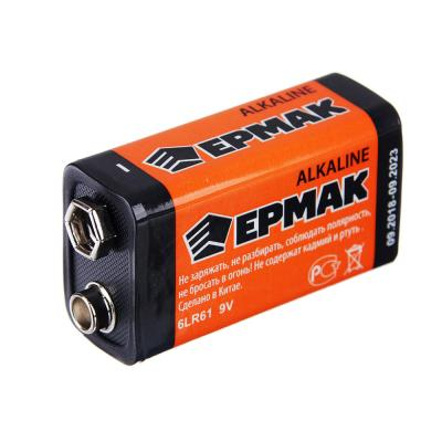 "634-001 ЕРМАК Батарейка 1шт ""Alkaline"" щелочная, тип Крона (6LR61), BL"