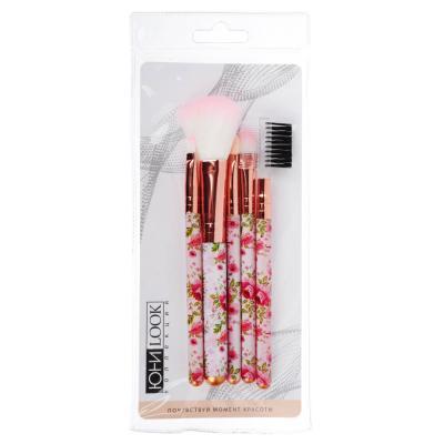 357-068 Набор кистей для макияжа 5шт, пластик, нейлон.ворс, 13,5см, 3 дизайна, BRS-5A