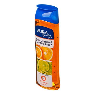 951-010 Гель для душа AURA витаминный Апельсин и лайм family п/б 260мл арт.04538