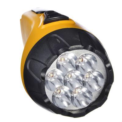 198-073 ЧИНГИСХАН Фонарь аккумуляторный 7 ярк. LED, вилка 220В, пластик, 15x6,4 см