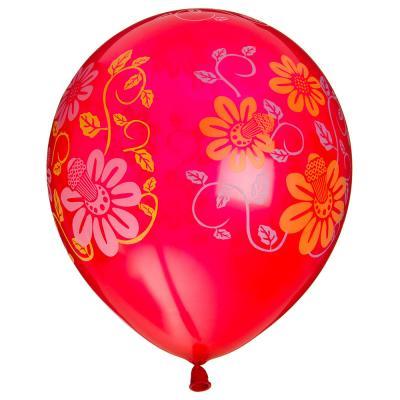"""518-019 Шары воздушные, 5шт, 12"""", 5 цветов, """"Цветочный узор"""""""