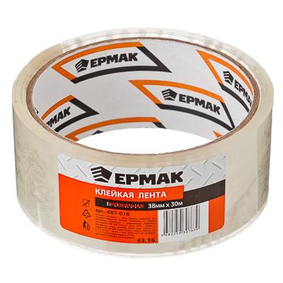 687-018 ЕРМАК Клейкая лента прозрачная 38мм x 30м