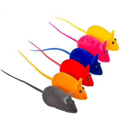 """183-016 Игрушка """"Мышка бархатная"""", резина, 5см, 6 цветов"""